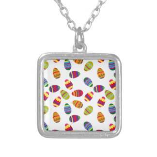 Easter eggs pattern silver plated necklace