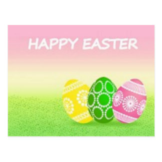 EASTER Eggs Pink and Green Postcard