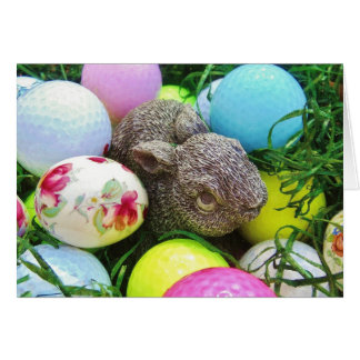 Easter Eggs, Rabbit , pastel colored Golf Balls Card