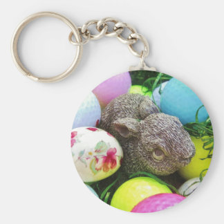 Easter Eggs, Rabbit , pastel colored Golf Balls Keychain
