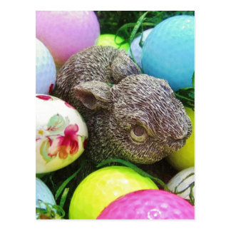 Easter Eggs, Rabbit , pastel colored Golf Balls Postcard