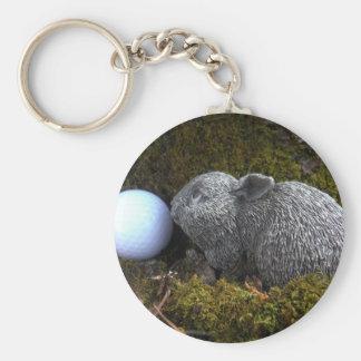 Easter Eggs, Rabbit ,White Golf Ball Key Chain