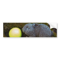 Easter Eggs, Rabbit , Yellow Golf Ball Bumper Sticker