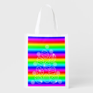 Easter eggs reusable grocery bags