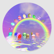 Easter Eggs Ride on a Rainbow Classic Round Sticker