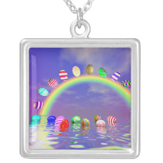 Easter Eggs Ride on a Rainbow Square Pendant Necklace