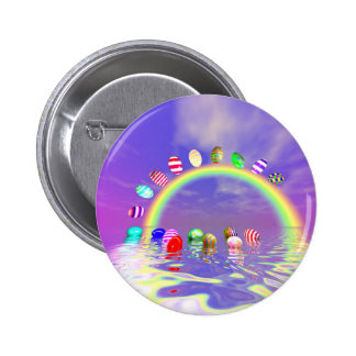 Easter Eggs Ride on a Rainbow Pinback Button