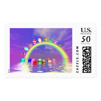Easter Eggs Ride on a Rainbow Postage