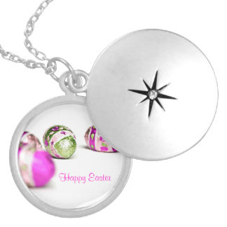 Easter Eggs Round Locket Necklace