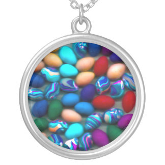 Easter Eggs Round Silver Necklace
