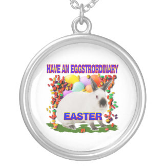 Easter eggs silver plated necklace