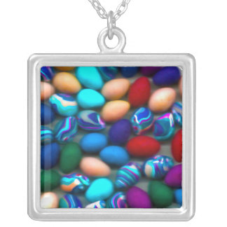 Easter Eggs Silver Square Necklace