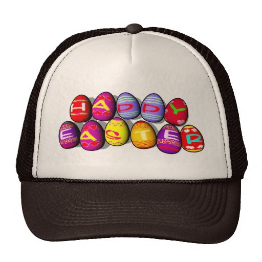 EASTER EGGS SPELLING HAPPY EASTER TRUCKER HATS