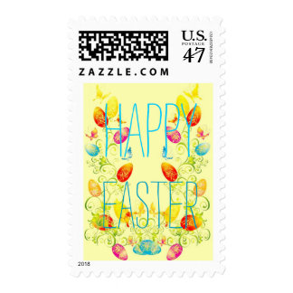 Easter Eggs Spring Floral Swirls Happy Easter Postage