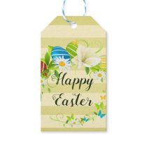 Easter Eggs Spring Flowers and Butterflies Wreath Gift Tags