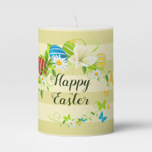 Easter Eggs Spring Flowers and Butterflies Wreath Pillar Candle
