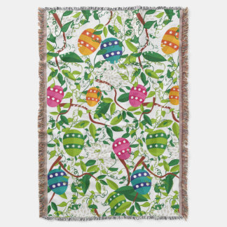 Easter Eggs & Spring Flowers Colorful Pattern Throw Blanket