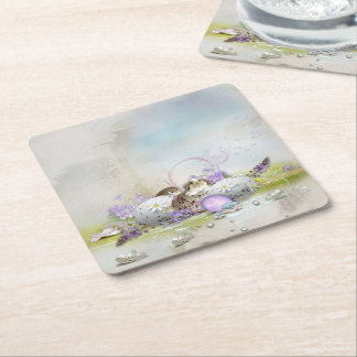 Easter Eggs Square Paper Coaster