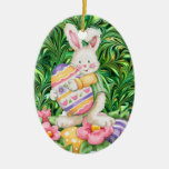 Easter Eggs - SRF Double-Sided Oval Ceramic Christmas Ornament