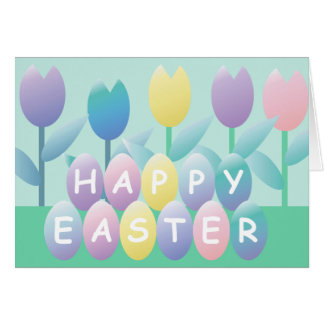 Easter Eggs Tulips Happy Easter Greeting Card