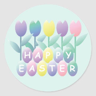 Easter Eggs Tulips Small Sticker
