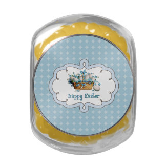 Easter Eggs Vintage Design Tin Easter Gift Candy Glass Candy Jar