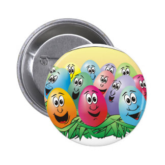 Easter Eggs with Faces in Grass Button