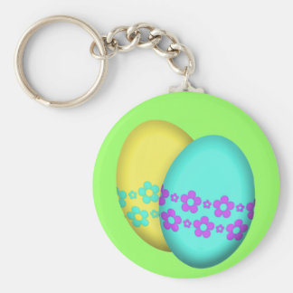 Easter Eggs With Flowers Keychain