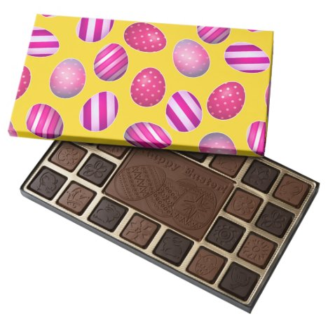 Easter Eggs Yellow and Pink Pattern 45 Piece Box Of Chocolates