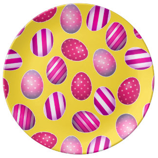 Easter Eggs Yellow and Pink Pattern Dinner Plate