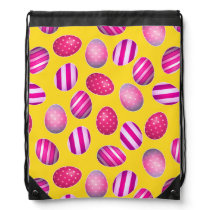 Easter Eggs Yellow and Pink Pattern Drawstring Bag