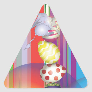 Easter Elephant stings Triangle Sticker