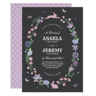 Easter Floral Wreath Wedding Invitation