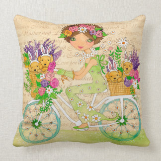 Easter Flower Bicycle with Lab Puppies Throw Pillow