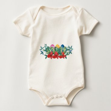 Professional Business Easter, Flower, Eggs, Watercolor Baby Bodysuit