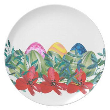 Professional Business Easter, Flower, Eggs, Watercolor Dinner Plate