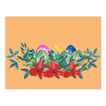 Professional Business Easter, Flower, Eggs, Watercolor Postcard