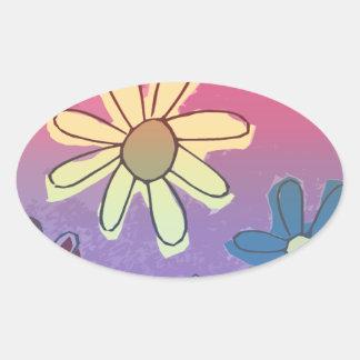 Easter Flower Shine Oval Sticker