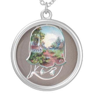 Easter Flower Vignette with Art Nouveau Stems Necklaces