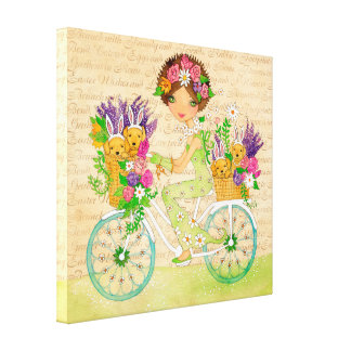 Easter Flowers Bicycle with Lab Puppies Canvas Print