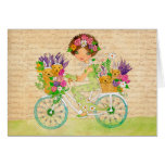 Easter Flowers Bicycle with Lab Puppies Greeting Card