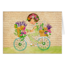 Easter Flowers Bicycle with Lab Puppies Card