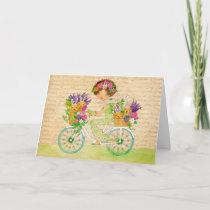 Easter Flowers Bicycle with Lab Puppies Holiday Card