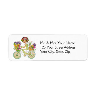 Easter Flowers Bicycle with Lab Puppies Label