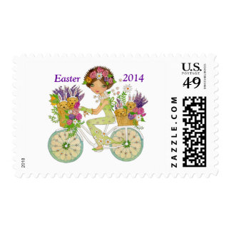 Easter Flowers Bicycle with Lab Puppies Stamp