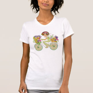 Easter Flowers Bicycle with Lab Puppies Tee Shirt