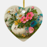 Easter Flowers Vintage Floral Art Double-Sided Heart Ceramic Christmas Ornament