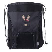 Easter for kids Bunny Face Bunny Kids Girls Drawstring Backpack