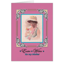 Easter for Mother - Vintage Lady wears Bonnet Card