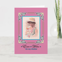 Easter for Mother - Vintage Lady wears Bonnet Holiday Card